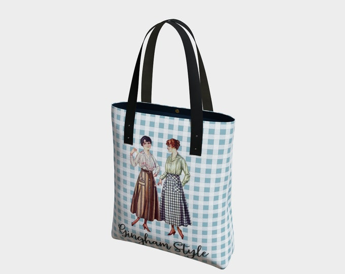 Retro Tote Bag - Gingham Style, Gingham Back | Vintage Illustration Tote Bag