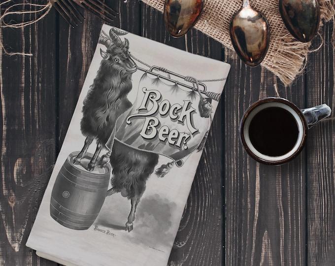 Vintage Beer Ad Illustration Tea Towel (Sepia) | Vintage Brock Beer Ad Tea Towel