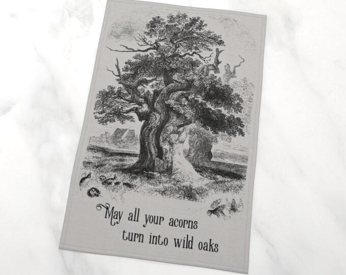 Oak Tree Vintage Illustration Tea Towel - Wild Oak | Sepia Vintage Art Print Tea Towel