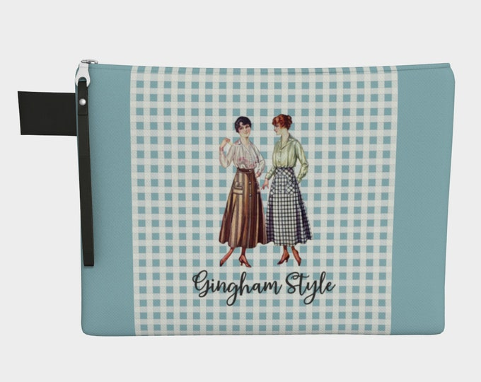 Retro Zip Bag - Gingham Style | Vintage Style Hand Bag