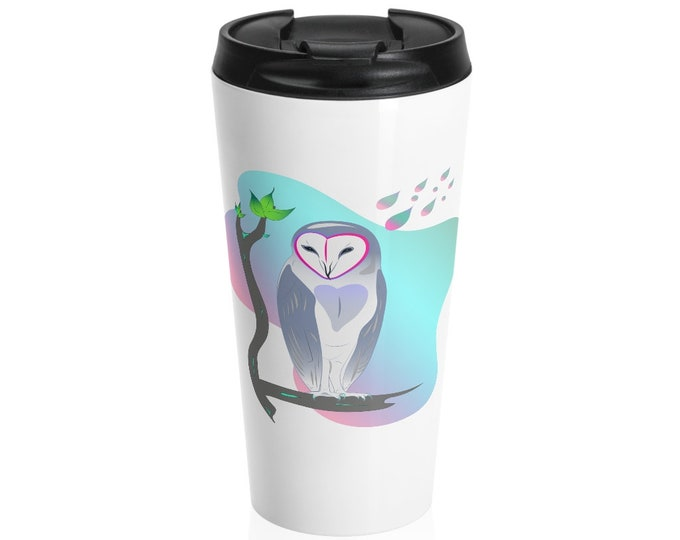 Stainless Steel Travel Mug - Owl in Repose (White base)