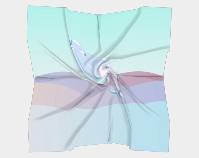 Retro Pastel Scarf (Square) - Waves of Hope | Nautical Scarf | Whale Illustration Scarf