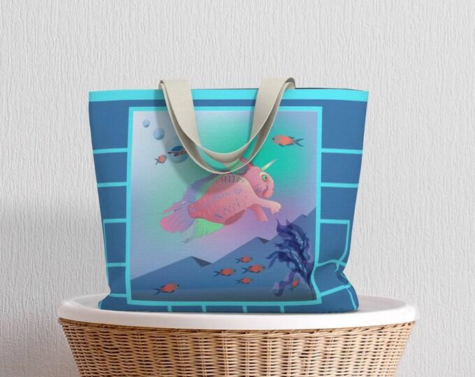 Fantasy Art Large Tote Bag - Seabunny Adventures | Nautical Beach Bag | Art Print Reusable Tote Bag