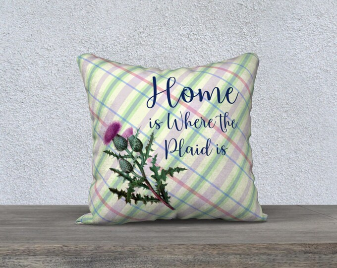 Scottish Thistle Plaid Pillow Case (18x18) | Vintage Illustration Accent Pillow
