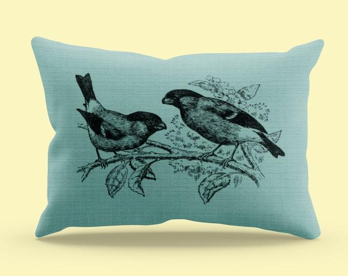 Vintage Bull Finch Illustration Pillow Case (20x14) | Vintage Bird Illustration Throw Pillow Case