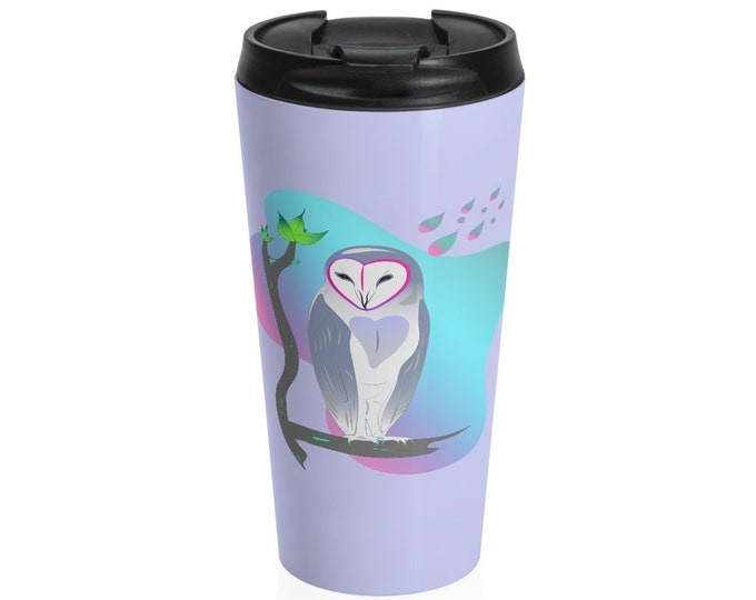 Stainless Steel Travel Mug | Owl Travel Mug | Illustrated Owl Mug | Owl in Repose (Lavender base)