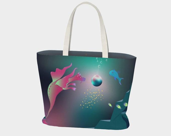 Sea Dragon Fantasy Art Large Tote Bag - Unexpected | Dragon Art Beach Tote Bag |
