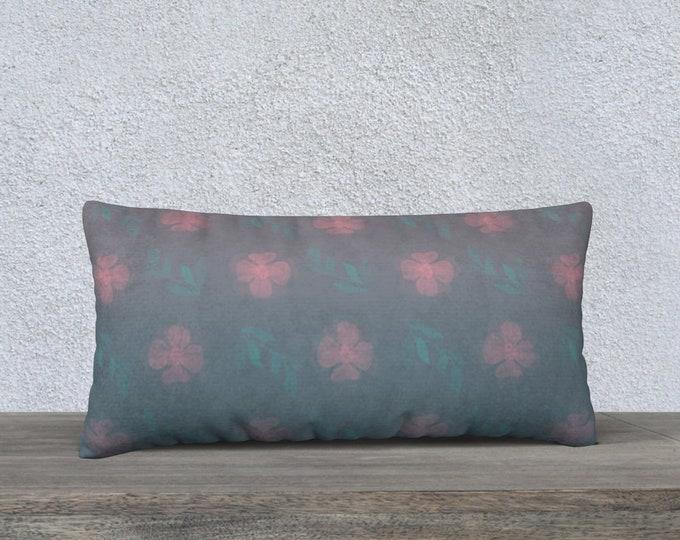 Throw Pillow Case (24x12) - Dusty Rose   Floral Pillow Cover   Garden Pillow Cover