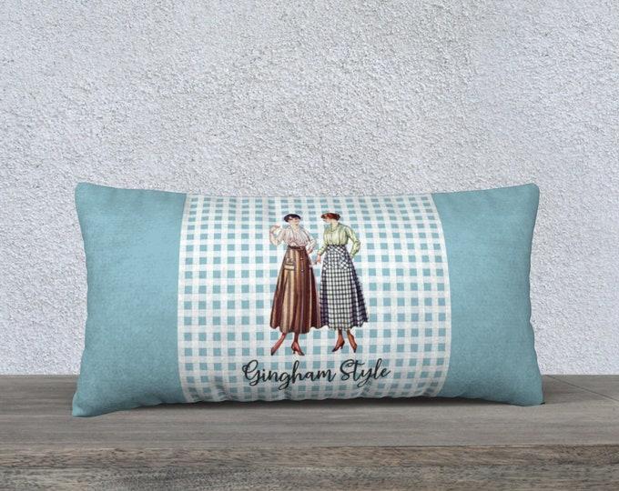 Retro Pillow cover (24x12) - Gingham Style   Vintage Pillowcase