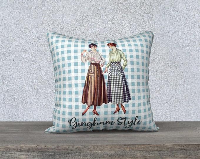 Retro Pillow Cover (18x18) - Gingham Style (Blue)   Farmhouse Pillowcase