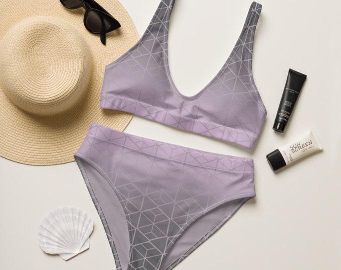 Recycled high-waisted bikini - Pink and Gray Bikini | Geometric Pattern Bikini