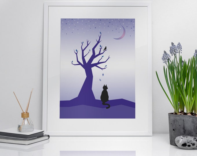 Downloadable Art (Beauty at Rest, Portrait Orientation) | Printable Cat and Tree Art Digital Download