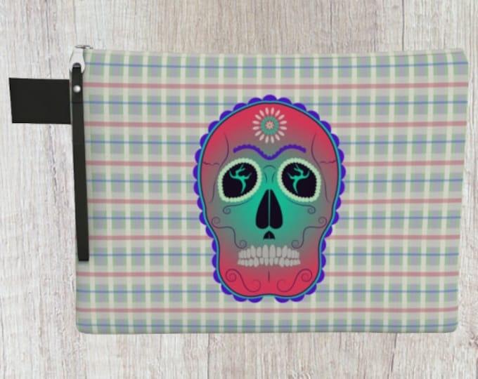 Sugar Skull and Plaid Zipper Carry-All | Sugar Skull Pouch | Sugar Skull Clutch