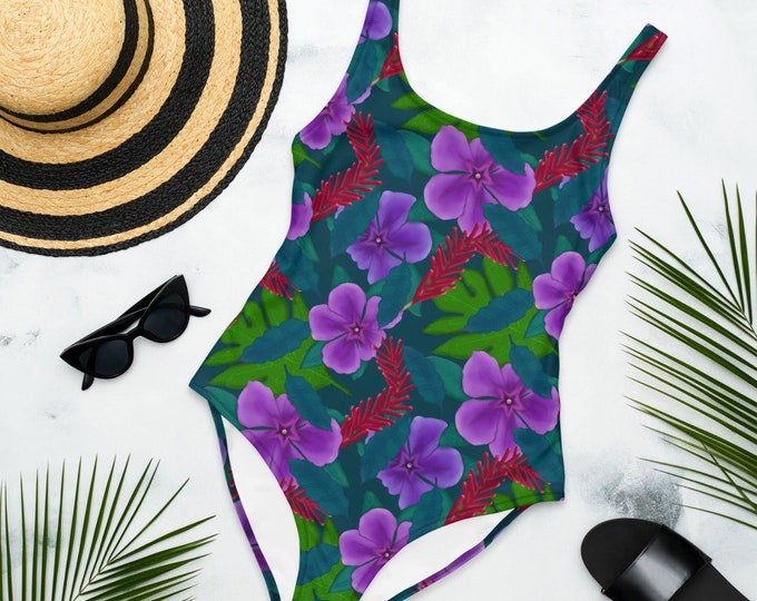 Tropical Flower Pattern One-Piece Swimsuit | Tropical Pattern Maillot