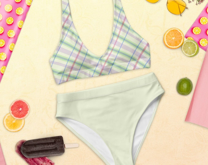 Recycled high-waisted bikini (Scottish Summer) | Plaid Two-Piece Bikini