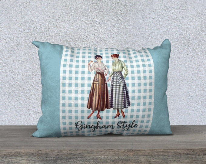 Retro Pillow Cover (20x14) - Gingham Style      Vintage Pillowcase