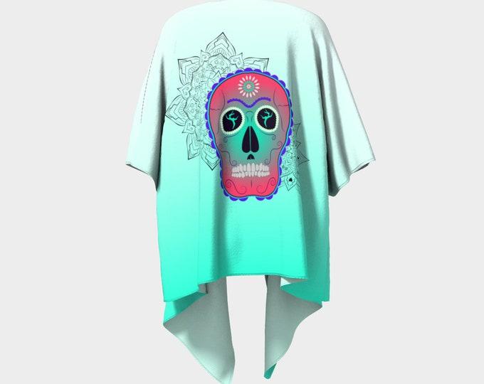 Draped Kimono - Surrender Sugar Skull (Green Ombre) | Sugar Skull Kimono