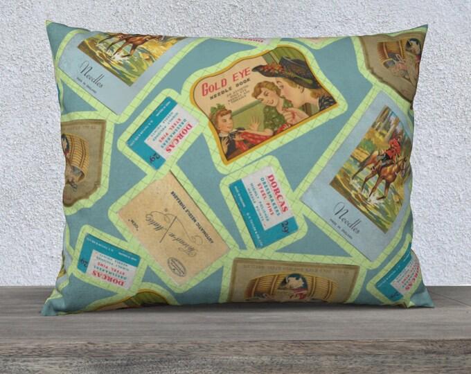 Vintage Notions Pillow Case (26x20) | Vintage Illustration Motif Pillow Case | Sewing Notions Motif Pattern Pillow Cover