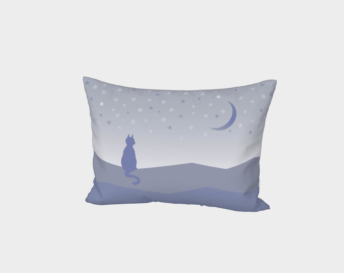 Cat and Stars Bed Pillowcase - Beauty at Rest   Moon and Stars Pillow Case