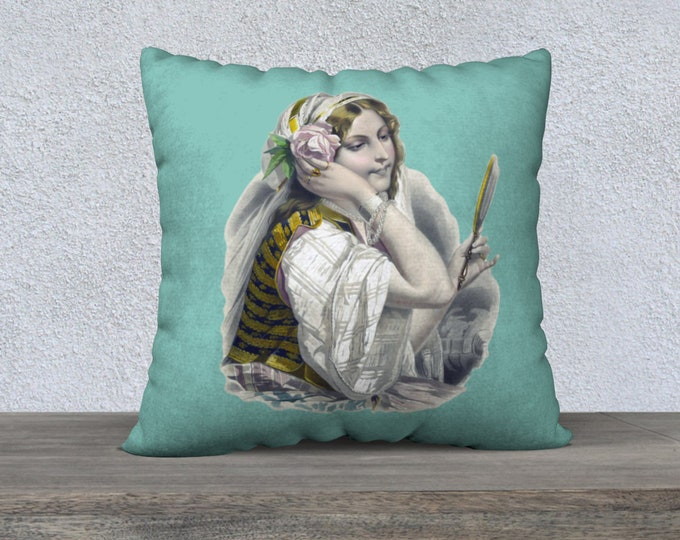 Vintage Illustration Pillow Case (22x22) - The Gypsy  | Vintage Gypsy Illustration Throw Pillow Cover