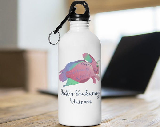 Printed Stainless Steel Water Bottle - Seabunny Unicorn