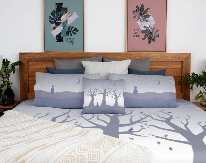 Trees and Cat Duvet Cover - Beauty At Rest   Moon and Stars Duvet