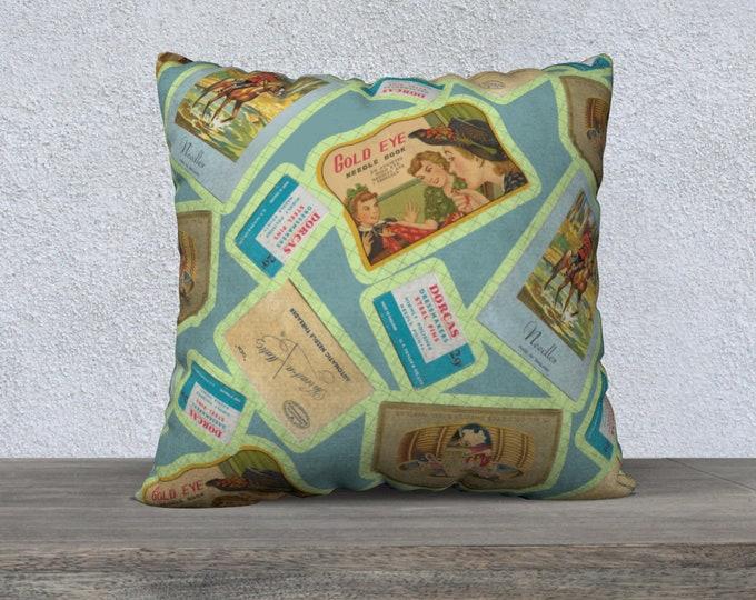 Vintage Notions Square Pillow Case (22x22) | Vintage Illustration Motif Pillow Case | Sewing Notions Motif Pattern Pillow Cover