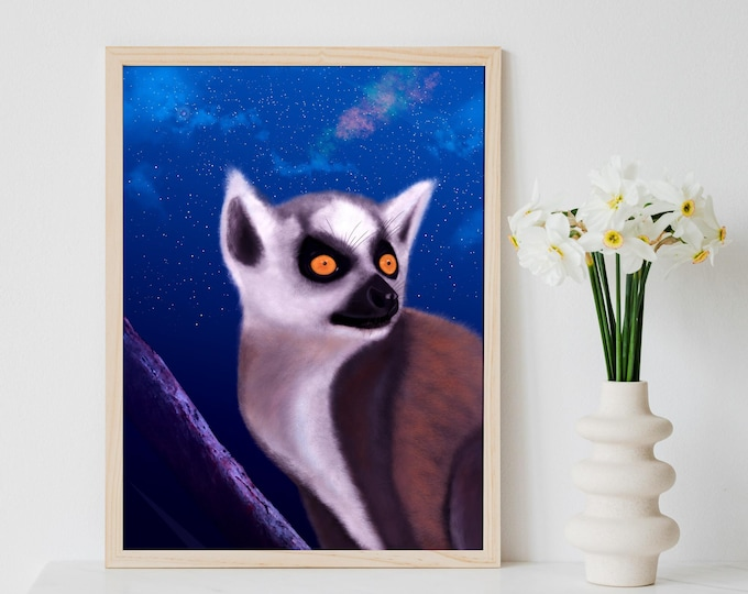 Lemur Painting - Demur Lemur   Lemur Art   Digital Painting of a Lemur