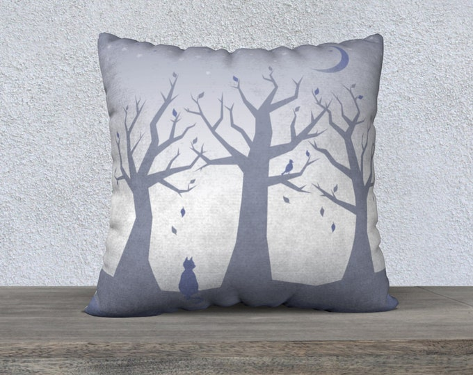 Cat and Stars Pillow Case (22x22) - Beauty at Rest   Trees Pillow Cover