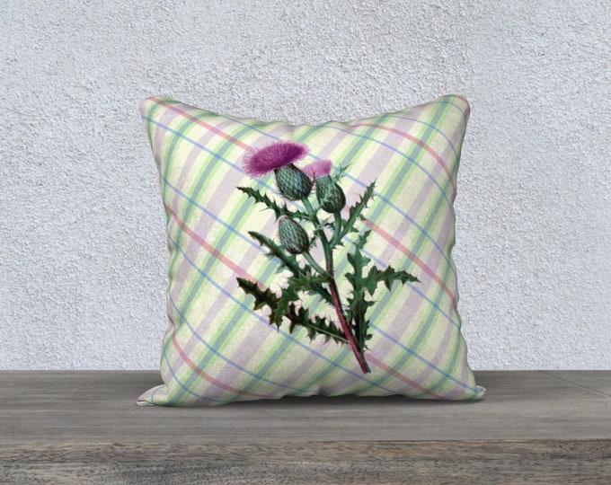 Thistle Pillow Case (18X18)-Scottish Summer   Plaid Accent Pillow Cover