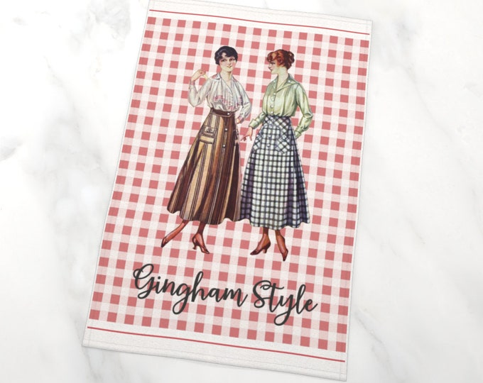 Printed Tea Towel - Gingham Style   Farmhouse T-Towel