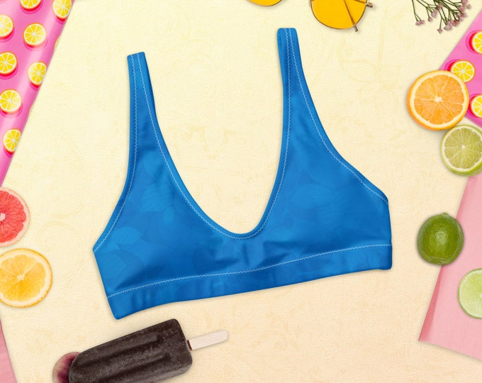 Recycled padded bikini top - Tropical Nights | Blue Bikini Top | Mix and Match Bikini