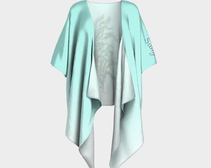 Seaweed Art Print Kimono - Salty | Green Ombre Kimono | Art Print Kimono