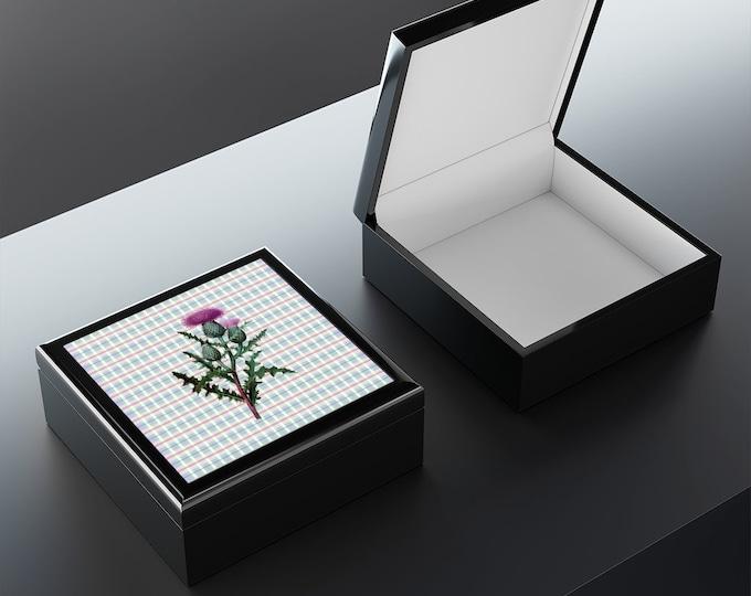 Scottish Thistle Jewelry Box | Wood Box with Scottish Thistle on Ceramic Tile