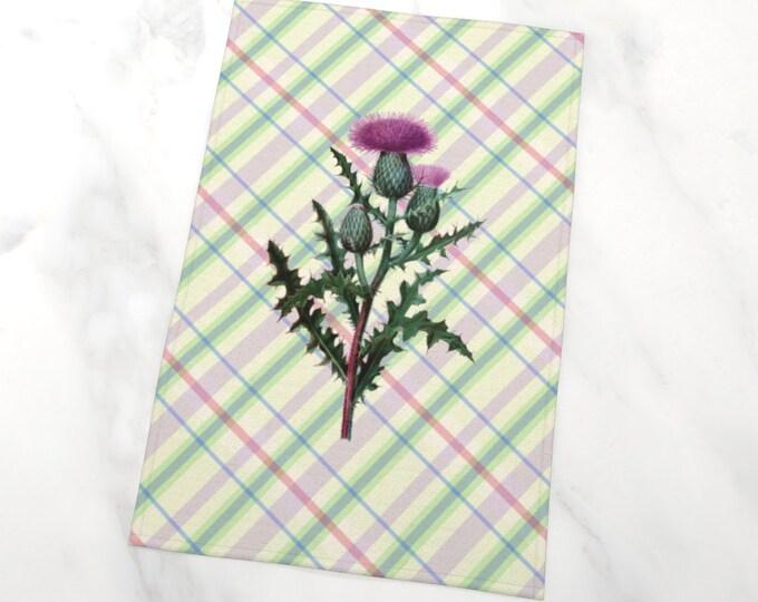 Sottish Thistle Plaid Tea Towel   Thistle Tartan Tea Towel