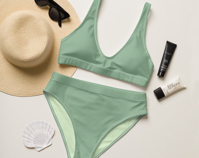 Green Recycled high-waisted bikini (Tree Bathing) | Maple Leaf Motif Swimsuit