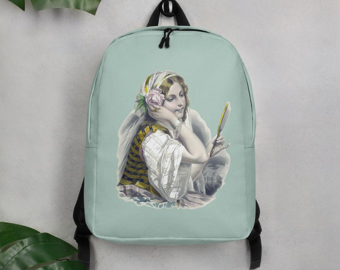 Minimalist Backpack - The Gypsy in a Mint Green | Vintage Gypsy Illustration Backpack
