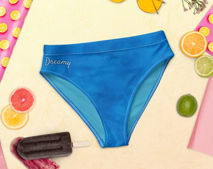 Recycled high-waisted bikini bottom - Tropical Dream | Blue Mix and Match Swim Bottom