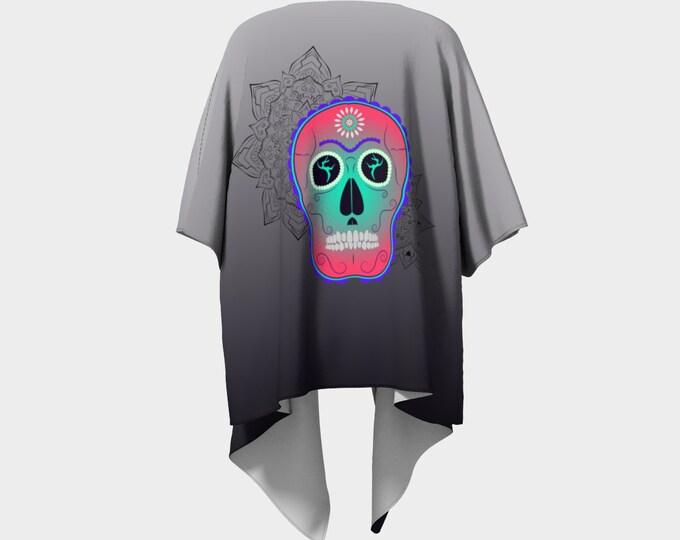Draped Kimono - Surrender Sugar Skull (Grey Ombre) | Sugar Skull Kimono