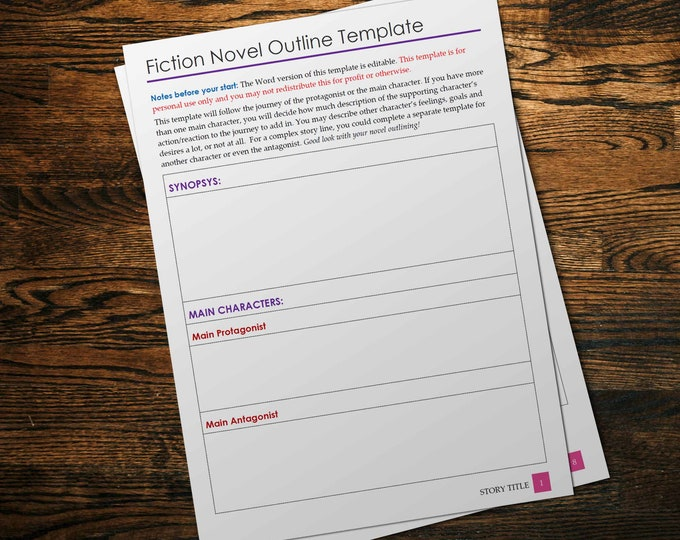 Fiction Novel Writing Template   Downloadable Book Writing Template in Word Doc