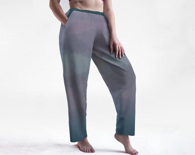 Printed Lounge Pants - Dusk | Art Print Lounge Pants | Teal Casual Pants