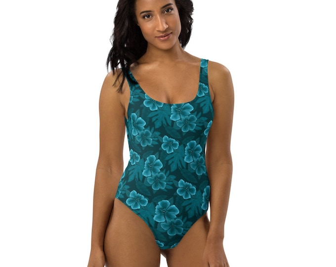 Floral One-Piece Swimsuit - Barbados Nights | Tropical Pattern Swimsuit | Teal Designer Swimsuit