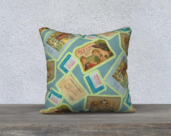 Vintage Notions Square Pillow Case (18x18) | Vintage Illustration Motif Pillow Case | Sewing Notions Motif Pattern Pillow Cover