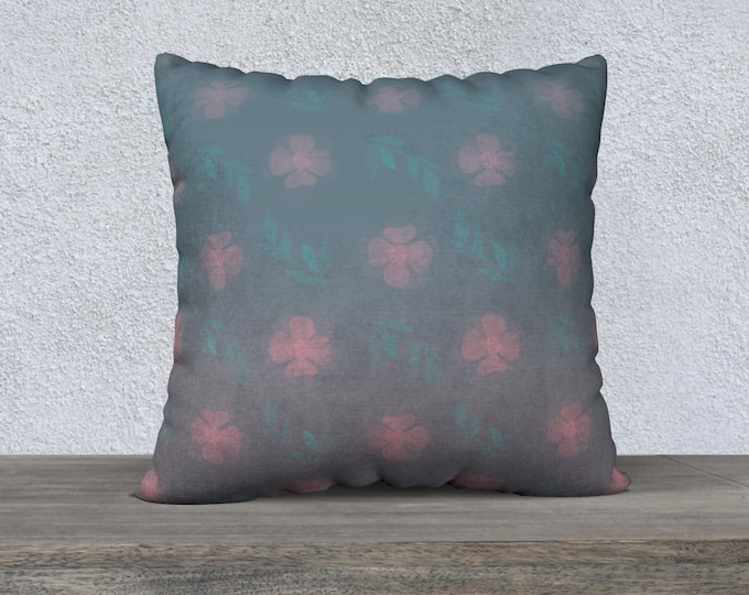 Throw Pillow Case (22X22)-Dusty Rose   Floral Pillow Cover   Garden Pillow Cover