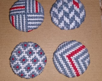 Grey and Red Patterned Buttons