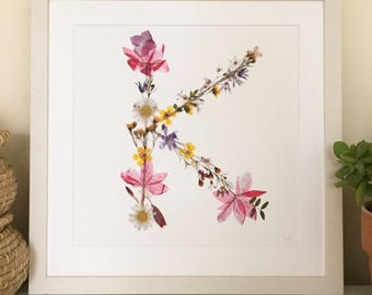 Pressed wild flower letter K Giclée print on fine art etching paper