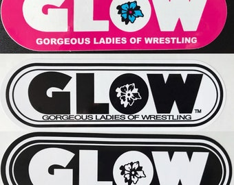 GLOW Oval Sticker - choose Color of  PINK, White , Black