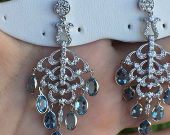 a9814f9fd 14k White Gold 5.25ct Aquamarine & Diamonds Earrings