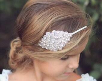 Flower Girl Rhinestone Headband, First Communion, Baptism, Christening Head Piece, Beaded Headband, Baptism Headband, Bridesmaid Headband