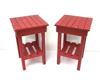 distressed night stand set distressed red end table set two bed side tables2 rustic tablemodern farmhouse side tablewooden table - Distressed End Tables